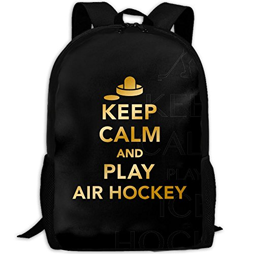 Keep Calm Play Ice Hockey Double Shoulder Backpacks For Adults Traveling Bags Full Print Fashion by THIS STORE