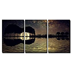 wall26 - 3 Piece Canvas Wall Art - Trees Arranged in a Shape of a Guitar on a Starry Sky Background in a Full Moon Night - Modern Home Decor Stretched and Framed Ready to Hang - 16x24x3 Panels