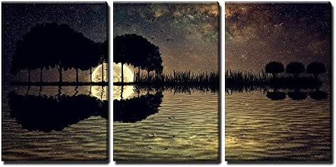 Trees Arranged in a Shape of a Guitar on a Starry Sky Background in a Full Moon Night x3 Panels