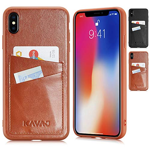 KAVAJ iPhone Xs Max 6.5 Case Leather Tokyo Cognac-Brown, Supports Wireless Charging (Qi), Slim-Fit Genuine Leather iPhone Xs Max Wallet Case Leather Bumper Case with Business Card Holder Cover