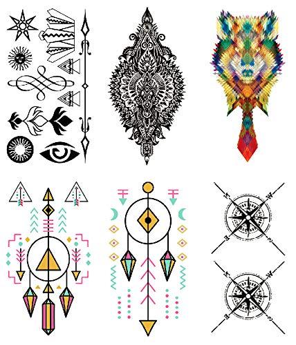 Oottati 6 Hojas Pequeño Lindo Tatuaje Temporal Tattoo Tótem Del ...