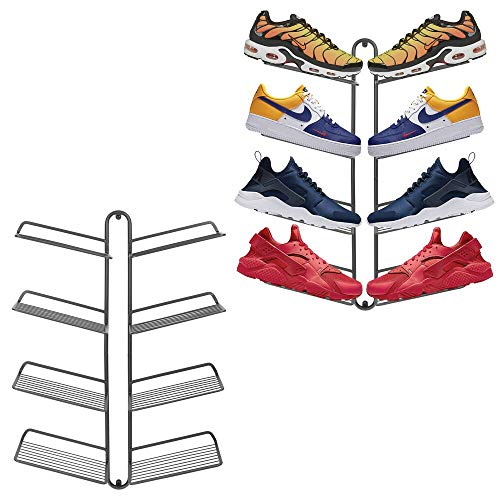 mDesign Modern Metal Shoe Organizer Display & Storage Shelf Rack - Hang & Store Your Collection of Kicks, Running, Basketball, Trainers, Tennis Shoes, Holds 16 Shoes, Wall Mount; 2 Pack- Graphite Gray
