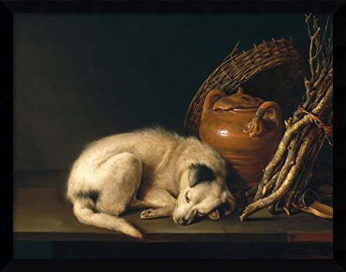 Framed Canvas Wall Art Print | Home Wall Decor Canvas Art | A Sleeping Dog with Terracotta Pot, 1650 by Gerrit (Gerard) Dou | Modern Decor | Stretched Canvas Prints ()