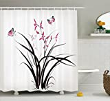 Pink and Cream Shower Curtains Ambesonne Butterflies Decoration Collection, Chinese Orchid and Butterfly Exotic Wild Mysterious Ink Style Print Home, Polyester Fabric Bathroom Shower Curtain, 75 Inches Long, Pink Brown Cream