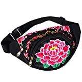 OULII Women's Waistbag Handmade Chinese Style Waist Bag Vintage Embroidered Purse Wallet With Strap (Red Flower)