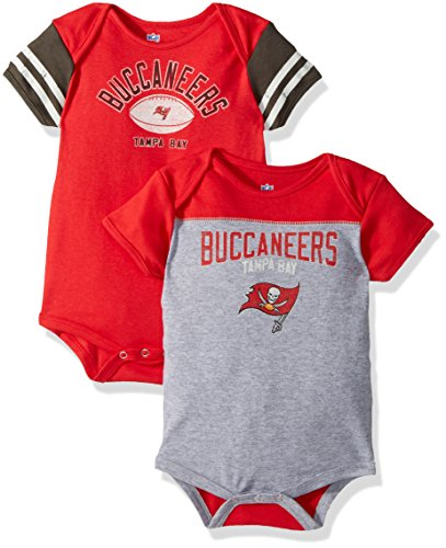 OuterStuff NFL Infant Vintage Baby 2 Piece Onesie Set-Heather Grey-18 Months, Tampa Bay (Tampa Bay Buccaneers Infant Onesie)