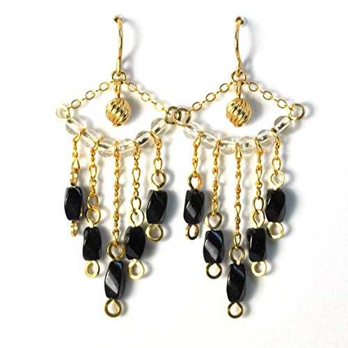 Victorian Style Black Tourmaline Chandelier Earrings Artisan Crafted in 14K Gold Filled Artisan Traditional Chandelier