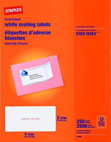 "Staples White Inkjet/Laser Shipping Labels 2"" x 4"", 2,500/"