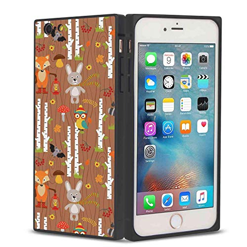 Apple iPhone 7 (2016) and iPhone 8 (2017) 4.7inch Phone Case Woodland Cartoon Pattern with The Animals of The Forest on Wood Background Seasonal Theme -