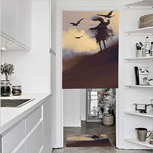 SCOCICI 3D Printed Linen Textured French 1 Panel Door Curtains 1pcs Doormat Kitchen Mat Rug,Scary Movie Film on The Hills CloudsSingle Panel Door Curtain 31.5