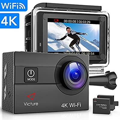 Victure Action Camera 4K WiFi 16MP 98Feet Waterproof Underwater Camera 170° Wide-Angle 2 Inch Screen Sports Cam with 2 Rechargeable 1050mAh Batteries and Mounting Accessories from Victure