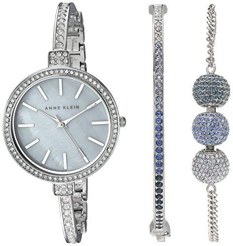 Anne Klein Women's AK/2353BLST Multi-Colored Swarovski Crystal Accented Silver-Tone Bangle Watch and Bracelet Set