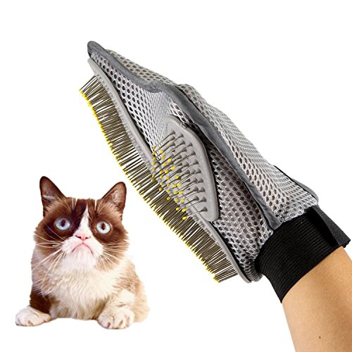 MUEQU Pet Grooming Brush Glove, Pet Massage Tool Gentle Hair Removal Brush Efficient Pet Grooming Massage Gloves…