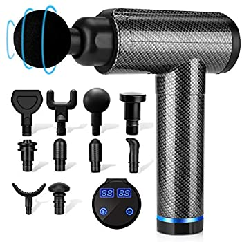 Muscle Therapeutic massage Gun, Percussion Therapeutic massage Gun Deep Tissue for Athletes, 30 Speeds Quiet Handheld Massager, LCD Contact Display with 10 Head
