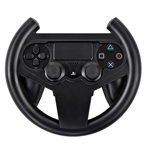 TNP PS4 Gaming Racing Steering Wheel - Gamepad Joypad Grip Controller for Sony Playstation 4 PS4 Black [Playstation ()