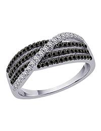 KATARINA Crossover Black and White Diamond Ring in 10K White Gold (3/8 cttw, G-H, I2-I3) (Size-9.5)