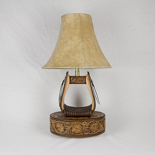 (Hand Tooled Leather Stirrup Lamp with Floral Tooled Base (SLFTB-001))