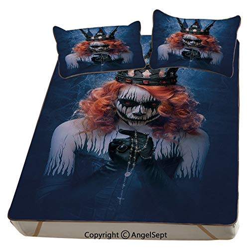 Queen,Summer Cooling Mat 3D Printing Foldable Folding Summer Ice Silk Cover Cool Mat with Pillowcase(Full) Queen of Death Scary Body Art Halloween Evil Face Bizarre Make Up Zombie]()