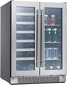 Zephyr Presrv Dual Zone Wine & Beverage Cooler with Glass French Door. 24 Inch 5.15 cu/ft. Refrigerator for Under Counter, Wine Fridge, Beer Fridge, Compact Bar Fridge, Full-Size Beverage Center