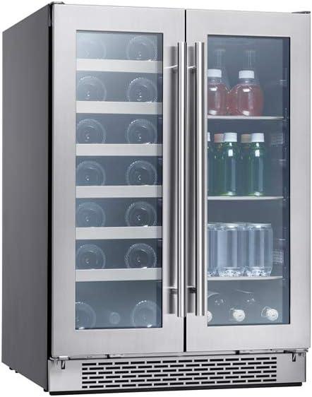 Zephyr Presrv Dual Zone Wine Beverage Cooler With Glass French Door 24 Inch 5 15 Cu Ft Refrigerator For Under Counter Wine Fridge Beer Fridge Compact Bar Fridge Full Size Beverage Center Appliances