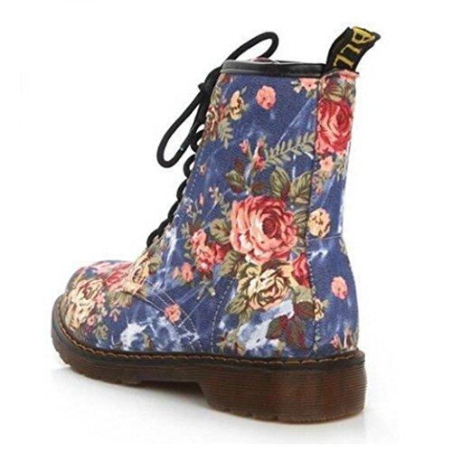 Heel Blue Biker Print Autumn Floral Women's Boots Ankle Yuxing fFxYq8wAf