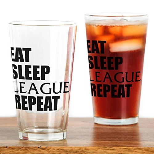 CafePress Eat Sleep League Repeat Pint Glass, 16 oz. Drinking Glass (Best League Of Legends Player)