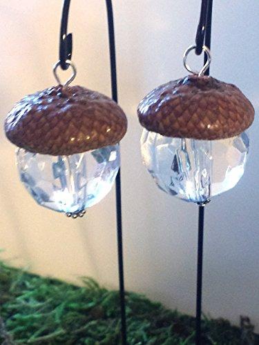 (Fairy Garden Acorn Cap Lanterns. Set of 2 Hanging Miniature Lanterns. Dollhouse, terrarium décor.)