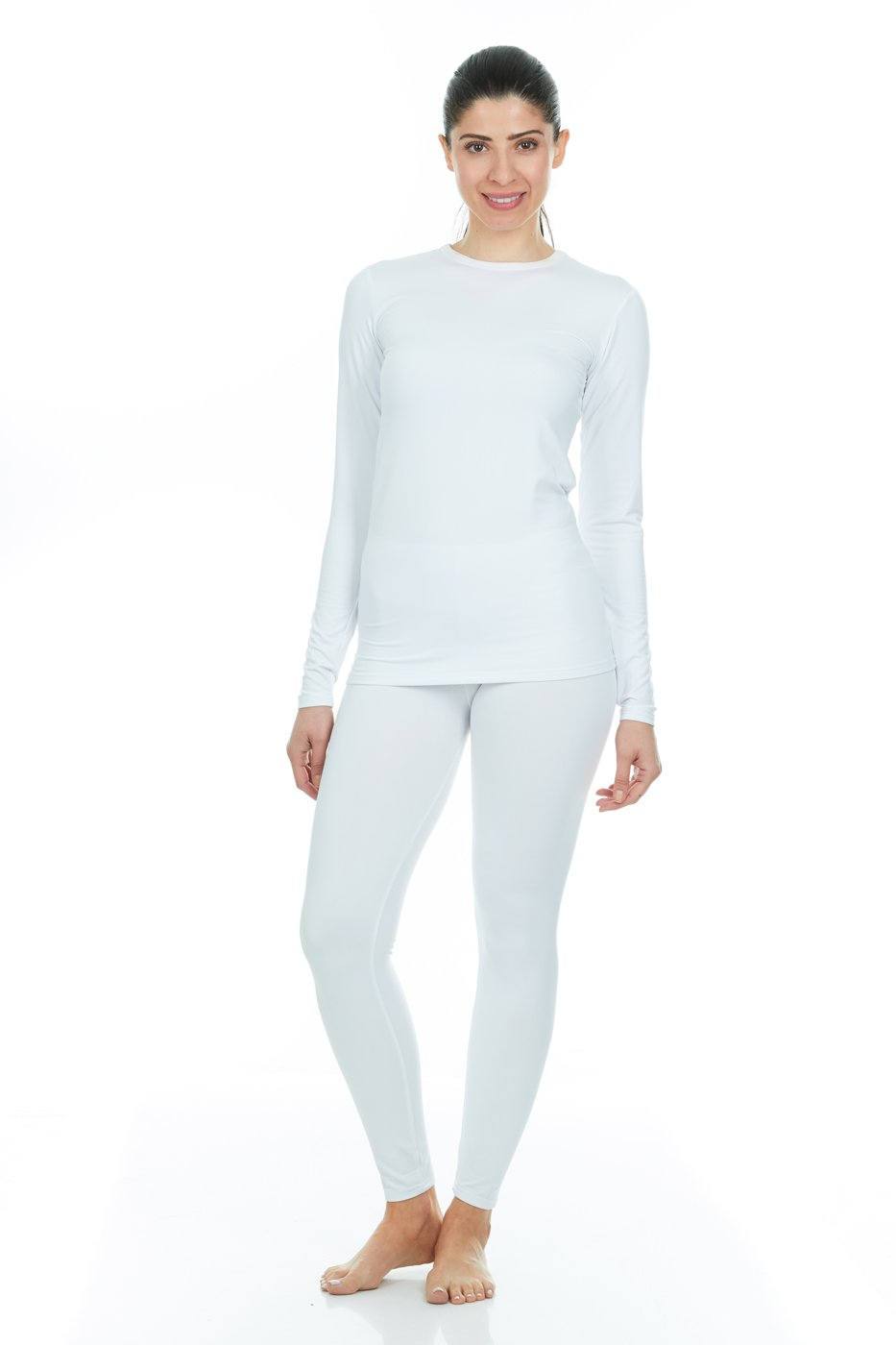 Thermajane Women's Ultra Soft Thermal Underwear Long Johns Set with Fleece Lined (XX-Small, White)