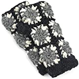 Knit Wool Open Finger Mittens Gloves With Fleece Lining - Charcoal