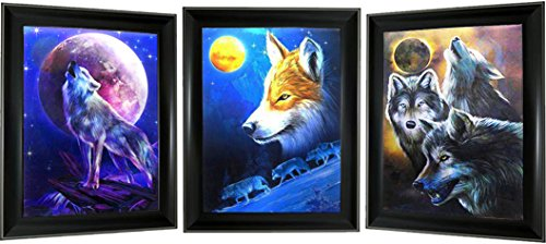 3D + 3 Images in 1/Triple Images in One Lenticular Framed 3d Picture Poster Artwork Wall Decor Holographic Pics Optical Illusion Animated Image (Black frame included) (Wolf Howling Moon) ()