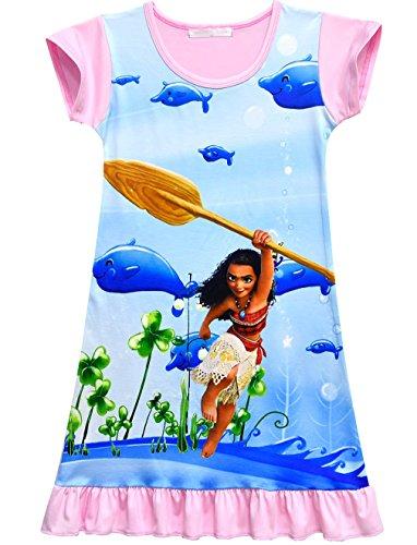 ZHBNN Moana Toddler Girls Nightgown Pajamas Party dress(Pink,110/4-5Y) by ZHBNN