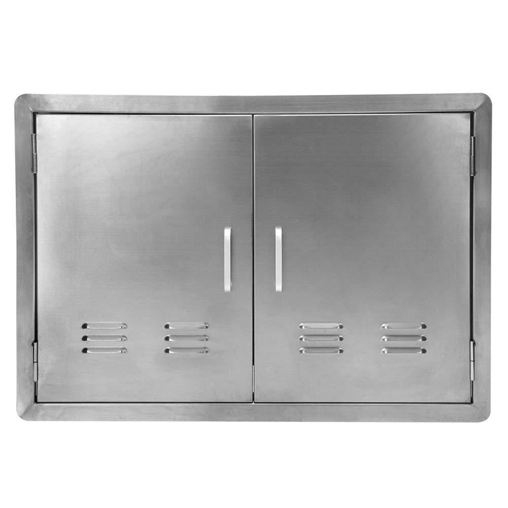 Seeutek Outdoor Kitchen Door BBQ Access Door with Vents 30.5 inch Width x 21 inch Height - Stainless Steel Single Door Vertical Construction for Outdoor Kitchen Grilling Station or Commercial BBQ Isla