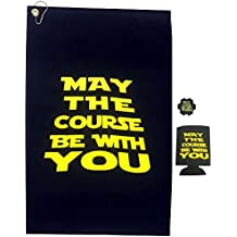 Giggle Golf May The Course Be with You Golf Towel & Poker Chip with A May The Course Koozie