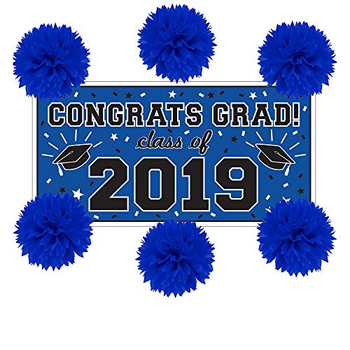 Party City Blue Graduation Wall Decorating Kit, Includes a Large Plastic Banner and 6 Tissue Paper Pom-Poms ()