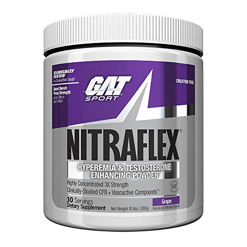 GAT Clinically Tested Nitraflex, Testosterone Enhancing Pre Workout, Grape, 300g
