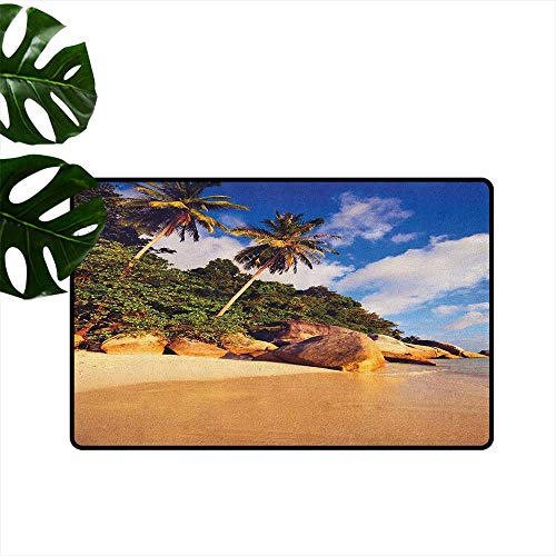 RenteriaDecor Palm Tree,Durable Rubber Door Mat Tropical Beach Serenity in Nature Exotic Fruit Coconut Rocks Seascape Print 18