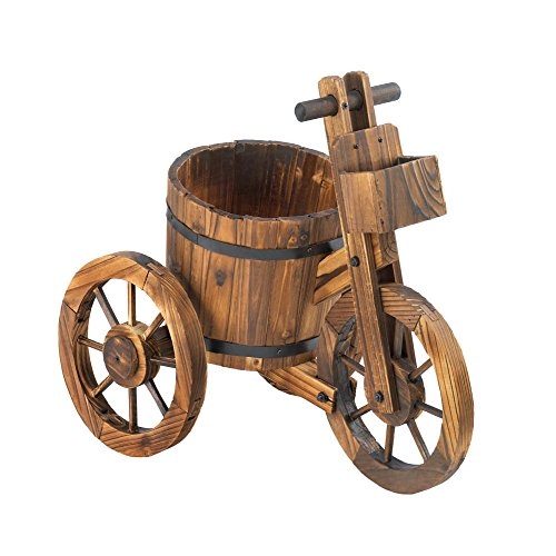 Koehler 10015794 21 Inch Brown Barrel Tricycle Planter (Barrel Wooden Rain)