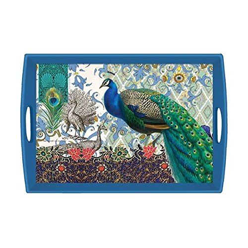 Michel Design Works Wooden Decorative Tray, Peacock, 20 x 13.75