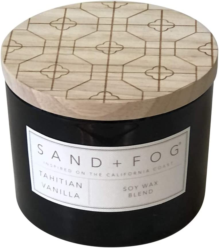 Sand + Fog Scented Candles | Tahitian Vanilla | Soy Blend | Lead-Free Wicks | 12 oz