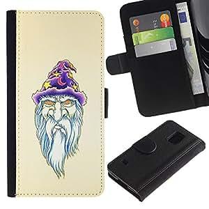 SAMSUNG Galaxy S5 V / i9600 / SM-G900 , la tarjeta de Crédito Slots PU Funda de cuero Monedero caso cubierta de piel ( Beard Wizzard Witch Art Portraid White Old Man)