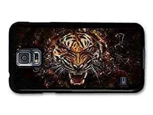 AMAF ? Accessories Angry Tiger Breaking Glass Illustration case for Samsung Galaxy S5