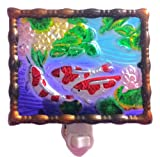 Continental Art Center NL9903 Hand Painted Glass with Night Light Koi Fishes, 5.2 by 5.6 by 1.6-Inch