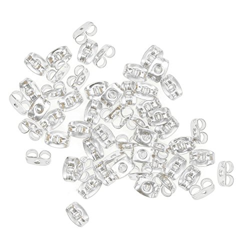- Earring Backs-200pcs-Metal Earring Backs-3x5mm with Kare & Kind® retail packaging (Silver)