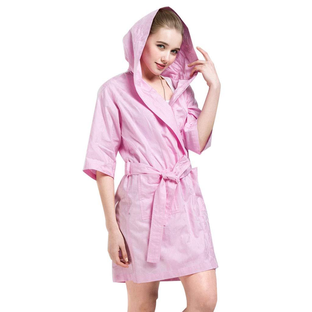 B Mesurn Spring and Summer Cotton Thin Bathrobes, YarnDyed Jacquard Craft, Environmentally Friendly Dyeing, ShortSleeved Hooded Home Robe