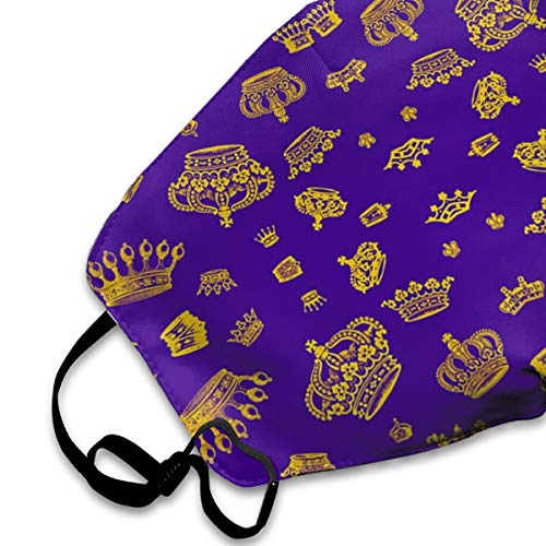 SGHGSAxbh Royal Crowns - Gold On Purple Face Mask Dust Mask Anti Pollution Face Mask Washable Cotton Mouth Mask Men and Women for All Ages