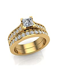 Princess Cut Diamond Wedding Ring 14K Gold 1.25 ct tw (J,I1) Popular Quality
