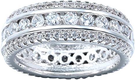 エレガント 925シルバー リング 透明 キュービックジルコニア リング レディース 指輪 ジュエリー アクセサリー リング(7号)