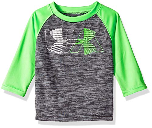 Under Armour Boys' Baby Long Sleeve Raglan Graphic Tee Shirt, Linear Logo Steel, 24M
