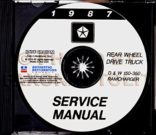 - 1987 DODGE RAMCHARGER D & W SERIES PICKUPS & TRUCK REPAIR SHOP & SERVICE CD - Covers 150 250 350 Sport Utility Club Cab Sport Wagon