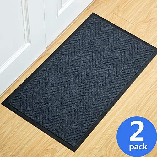 2-Pack Indoor Outdoor Welcome Mats - Door Rug - Entrance Scrapper Mat - 17 x...
